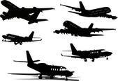 Airplane silhouettes. Vector illustration for designers — Vector de stock