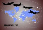 Abstracte achtergrond met aarde en vliegtuig afbeeldingen — Stockvector