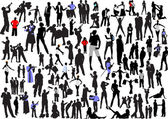 100 silhouettes — Stock Vector