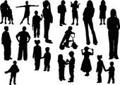 Twenty children silhouettes — Stock Vector