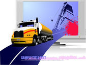 Abstract composition with lorry, road and TV . Vector illustration — Stock Vector