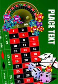 Roulette table and casino elements. — Stock Vector