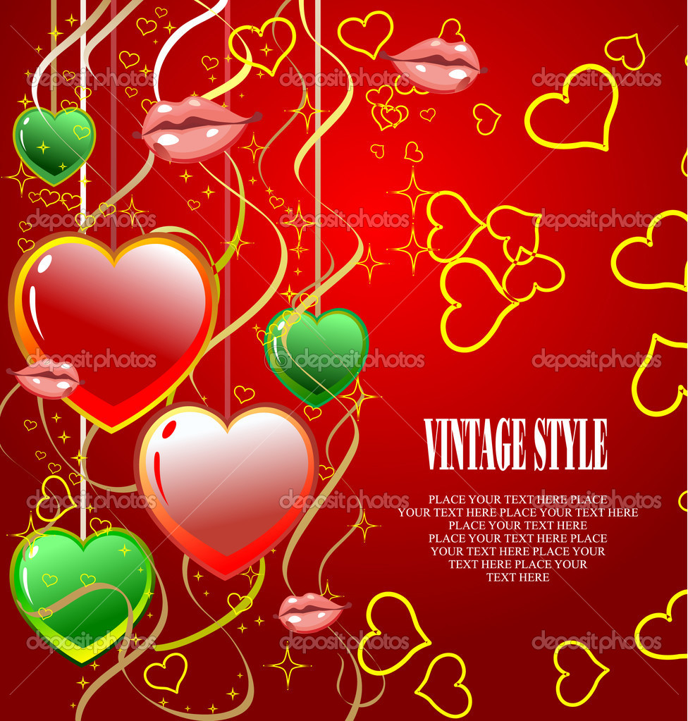 Valentine`s Day  Greeting Card. Vector illustration. Invitation card — Stock Vector #6966329