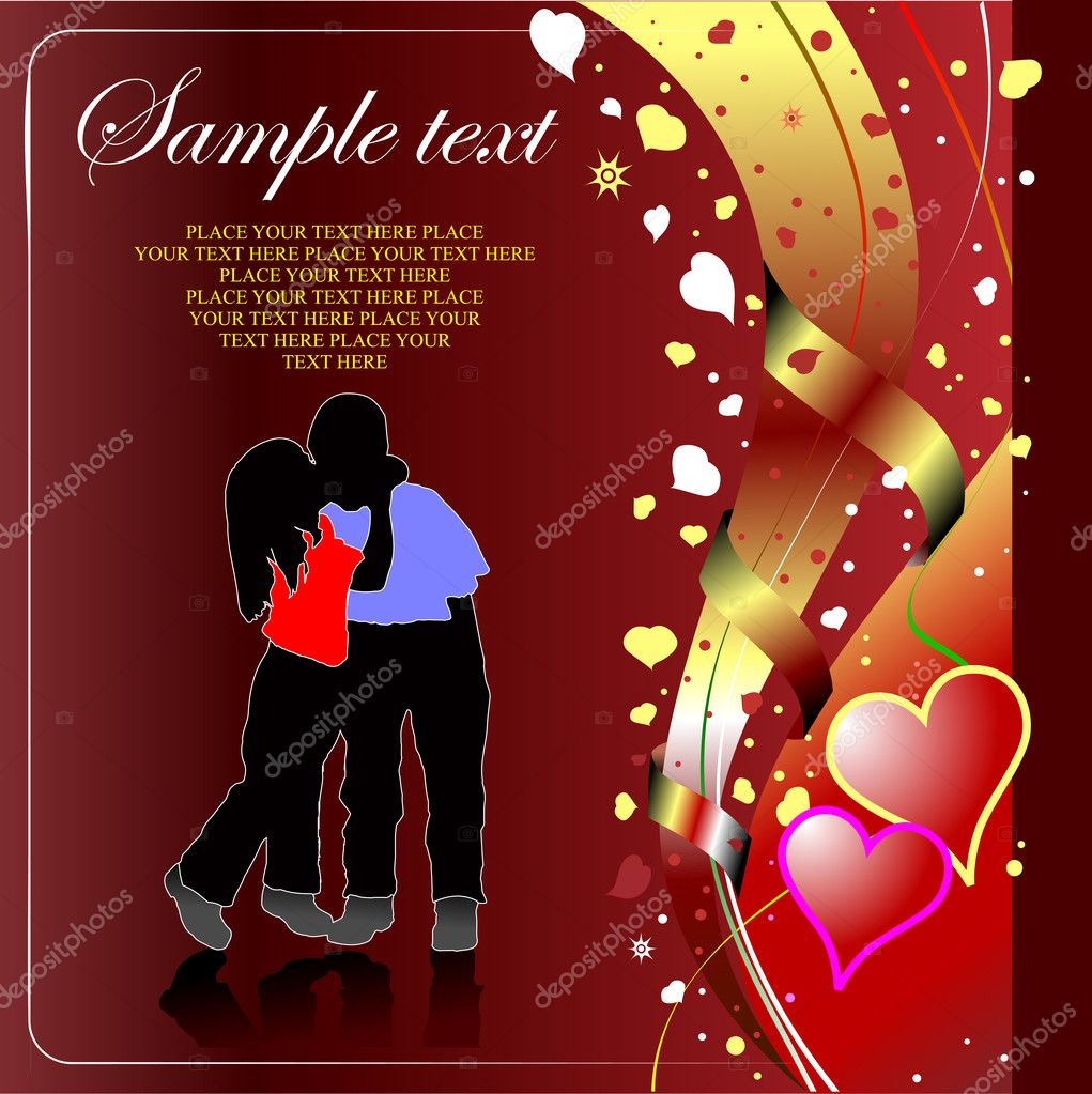 Valentine`s Day  Greeting Card. Vector illustration. Invitation card — Stock Vector #6966370
