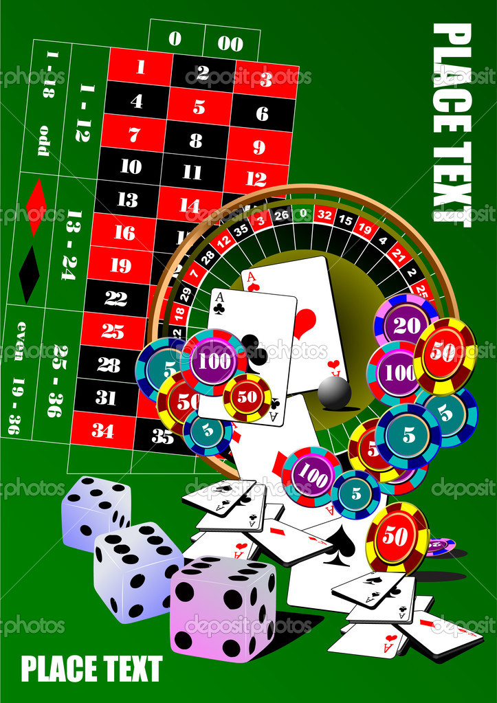Roulette table and casino elements. Vector illustration — Stock Vector #6966611