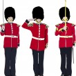 Vector image of three beefeater. England guards. — Stock Vector