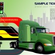 Abstract hi-tech background with green lorry image. Vector — Grafika wektorowa