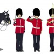 Vector image of five beefeaters. England guards. - Stock Vector