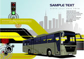 Abstract hi-tech background with bus image. Vector — Stock Vector