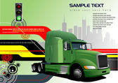 Abstrait hi-tech avec image camion vert. vector — Vecteur