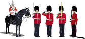 Vector image of five beefeaters. England guards. — Stock Vector