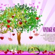 Decorative Valentine`s Day tree — Stock Vector