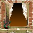 Old-fashioned window with flower — Stock Vector