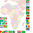 Flags and map of Africa - Stock vektor