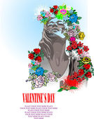 Floral Valentine`s Day Greeting card — Stockvektor