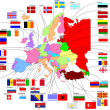Map of Europe with country flags — Stockvectorbeeld