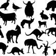 Animals black silhouettes — Stock Vector