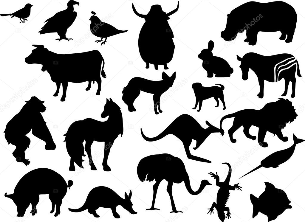 Animals black silhouettes vector illustration — Stock Vector #7110579