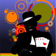 Vector illustration of illusionist in the scene - Stock Vector