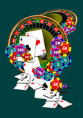 Roulette table and casino elements — Stock Vector