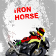 Grunge gray background with motorcycle image. Iron horse. Vector — Stock Vector