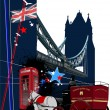 Cover for brochure with London images. Vector illustration — Vector de stock