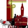 coperchio per brochure con immagini di Londra. illustrazione vettoriale — Vettoriale Stock