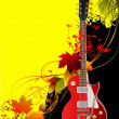 Cover for brochure with autumn leaves and guitar image. Vector i - Stok Vektör