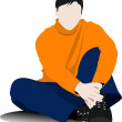 Sitting young man on the floor. Vector illustration - Stock Vector