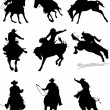 Horse rodeo silhouettes. Vector illustration — Stock Vector