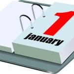 Vector illustration of desk calendar. 1 january — Stock Vector #7956105