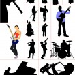 Big set of musicians silhouettes. Orcestra - Stock Vector
