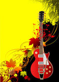 Cover for brochure with autumn leaves and guitar image. Vector i — Stock Vector