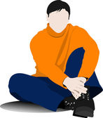Sitting young man on the floor. Vector illustration — Vector de stock