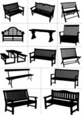 Big set of garden benches. Vector illustration — Stock Vector
