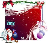Neşeli noel ve mutlu yeni yıl için tebrik kartı — Stok Vektör