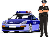 Police woman standing near police car isolated on white. Vector — Stock Vector
