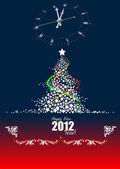 рождество - новый год полночь фон. открытка. вектор — Cтоковый вектор