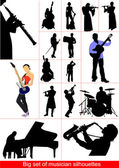 Big set of musicians silhouettes. Orcestra — Stock Vector