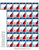 Tear-off Calendar 2012. Each day of January. Happy birthday to y — Stock Vector