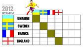 Soccer (piłka nożna) mistrzostwa europy 2012 tabela d — Wektor stockowy