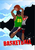 Basketball players poster. Colored Vector illustration for desig — Stock Vector
