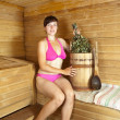 Stock Photo: Womsitting at sauna