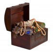 Wooden treasure trunk with jewellery - 图库照片