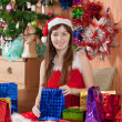 Girl with christmas presents — Stok Fotoğraf #6854244