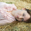 Country girl on hay — Stock Photo #6854267