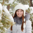 Girl in wintry pine forest — Stock Photo #6854275