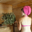 Girl in sauna - Stockfoto