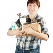 Woman with heavy-handed of household appliances — Stock Photo