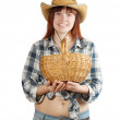 Stock Photo: Happy pastoral womwith basket